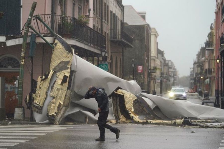 Wind from Hurricane Ida ripped a roof off a building in the French Quarter in New Orleans